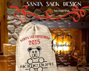 ON SALE SANTA Sack Svg Cutting File, Santa Bag Svg File Baby's 1st Christmas, Use Silhouette Designer Edition, Sure Cuts A Lot (Scal3) Vinta