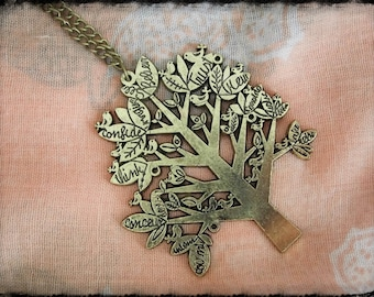Bronze long necklace with a tree and writing on the branches