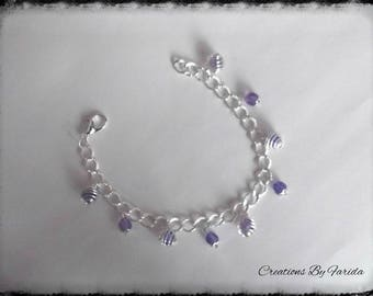 Transparent purple beads with silver chain bracelet