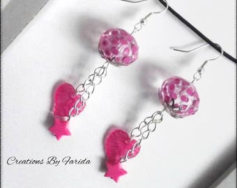 Earrings dangle with beads transparent and pink on chain