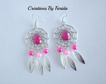 "Beautiful ""Dreamcatcher"" earrings with cabochon fuchsia beads fuchsia and silver leaves"