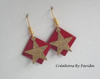 Gold on a red square sequin star earrings