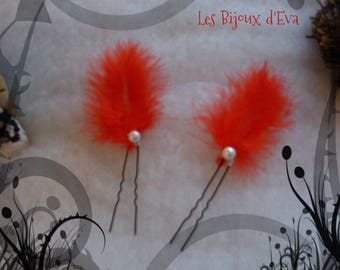A Pearl and Red Feather hair stick