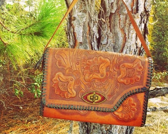 Vintage Hand Tooled Leather Purse Mexico 70's Coachella Bohemian Gypsy Hippie Festival Wear