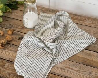 Linen dish towels, Kitchen towels set, Natural linen hand towels, Striped tea towel, Modern farmhouse, Stonewashed linen, Natural towel