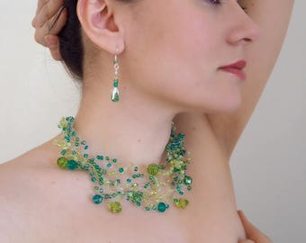 Prom jewelry, green jewelry set, necklace and 2 pairs of earrings in green, glass beads,crystals,transparent cord, crochet jewelry, gift