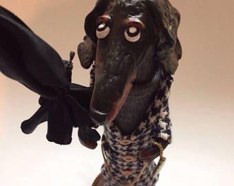Dachshund, Dog, Art doll,  Handmade Doll, Paperclay Art Doll, Collection Doll, Sculpted Paperclay Art Doll, OOAK doll, Interior Art Doll