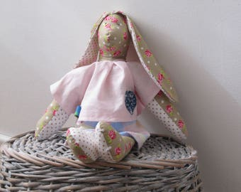 Bunny in Handmade, Nursery decoration, Bunny Toy, Baby, Babyshower, Soft toys in handmade, Colorful toy, Gift for Girls