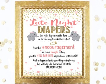 Elephant Baby Shower Game - LATE NIGHT DIAPERS - Coral Pink and Gold - Instant Printable Digital Download diy Funny Game Printables Decor