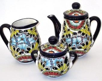 Mexican Talavera Tea Serving Set // Teapot, Creamer & Sugar Bowl (3)Pcs // Talavera Pottery