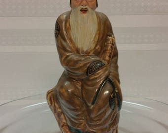 RARE Antique Chinese MUDMAN Male Figurine, Scholar, Hat, beard, Scroll, early 1900s, Hallmarked Pottery, Shiwan China, Handpainted, China