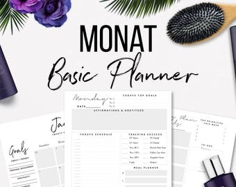 2018 Monat Business Planner Printable 2017 US Letter, A4 or A5 Paper Size