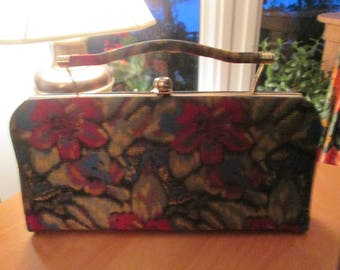Vintage jewel tone tapestry top handle or fold away handle clutch bag. Made in USA for Mar-Chel handbags. Vtg tapestry top handle or clutch.
