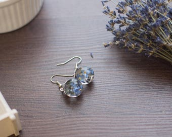 earrings with forget-me-nots
