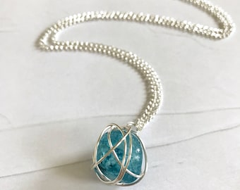Blue Crystal Silver Wire Wrapped Necklace