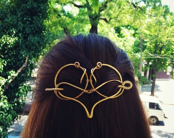 Heart Hair Slide with stick →Feel love← Golden Brass Heart hair jewelery, More hearts in this World For Long Hair, With soul,Nature Inspired
