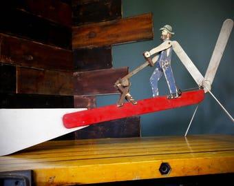 Vintage Lumber Jack Primitive Folk Art Whirligig Wooden Weathervane Propeller Farm Rustic Garden Wind Mill Saw Tool Trade Sign Barn Antique