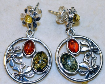 Green, Cognac and lemon Baltic Amber set in Solid 925 Sterling Silver Earrings