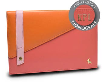 Pink Leather Portfolio or Padfolio, Colorful, business gift, graduation gift, designer, unique