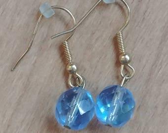 Periwinkle Bicone Crystal Beaded Earrings