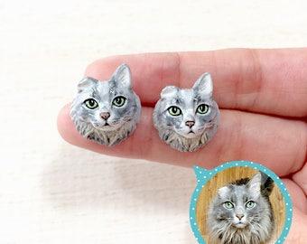 Custom Cat & Dog portraits earrings, Custom dog earrings, Custom cat earrings, personalized cat, cat sculpture, cat memorial