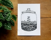 Terrarium Jar, Scandinavian Design, Scandi Prints, Hygge Home Decor, Black and White, A5 Screen Print