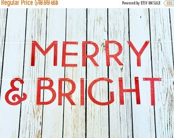 Christmas in July Sale Christmas Merry & Bright Glitter Banner, Holiday Banner, Christmas Party Banner, Various Colors, Christmas Decoration