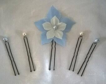 set of 5 peaks pins, hair accessories silk flower hair bead ivory / blue wedding bridal party