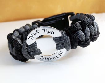 Type Two Diabetic Tactical Paracord Medical ID Bracelet with Survival Buckle (Compass/Safety Whistle/Flint/Starter)