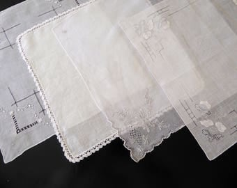 Four vintage white handkerchiefs with embroidered trim #110