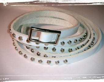 Bracelet White Leather studded - MULTISTRAND
