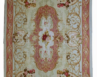 Hand made antique French Aubusson Napoleon the 3rd 4.6' x 6.6' ( 140cm x 201cm ) 1860s