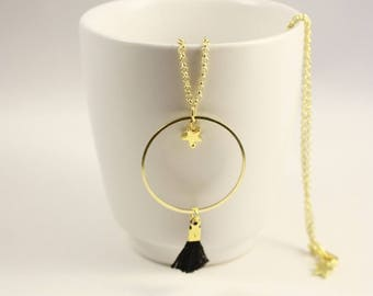 gold ring, Star and black tassel necklace