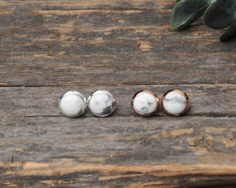 Marble Earrings, Marble Studs, White Stone Earrings, White Howlite Studs, Gift Idea, Stocking Stuffers, Simple Earrings, 8mm, 10mm