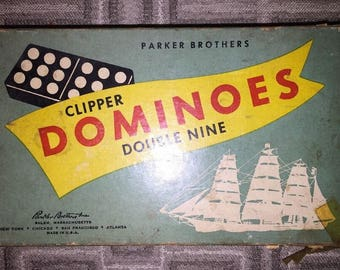1950's Parker Brothers Clipper Double Nine Dominoes.