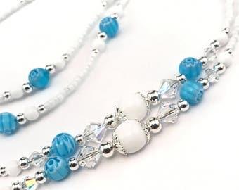 Beaded Eyeglass Chain/Holder-Blue Millefiori & White~ Swarovski Crystal