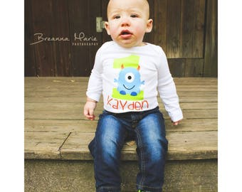 Little monster first birthday - monster shirt - polkadot - monster Birthday - first birthday boy - monster outfit - monster Birthday