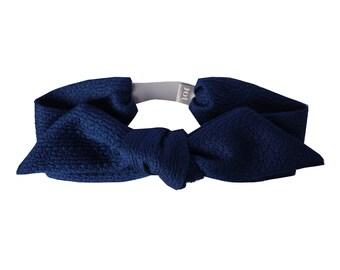 Headband Odele - Cotton wool Jacquard Fabric headband, Sophisticate headband, French Parisian Headband,Blue Royal headband,Handmade in Paris