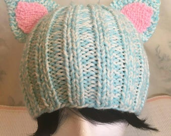 Blue & White Marbled Cat Hat