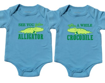 Later Alligator - Set of 2 Baby Twin Shirts - Baby Boy Tshirts - Matching Twin Outfit - Funny Shirts - Twin Boys One Piece- Newborn Twins