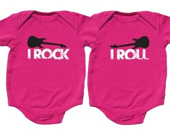 Twin Girl Outfits, I Rock I Roll, Twin Outfits, sizes from 0 to 12 months, Twin Girls Outfits
