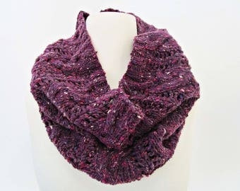 Gift for women knit scarfs for girls plum knit scarf knit cowl scarf Oversized knit cowl for women Infinity circle scarf Crocheted scarves