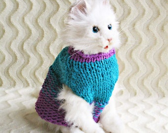 Cat lover gift for dog knit jumper for cat knit sweater for pet knit jacket cat sweater Turquoise jumper for cat knit dog clothing for pet