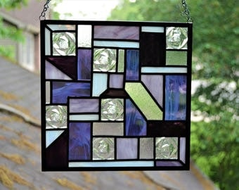 Leaded stained glass abstract panel purple and clear 9.5 x 9.5