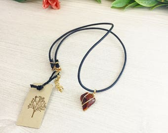 Jasper Choker Necklace >> Red Jasper Agate Black Leather Jewelry >> Bohemian Nature Jewelry Gift >> Natural Stone Gift For Her >> Outdoorsy