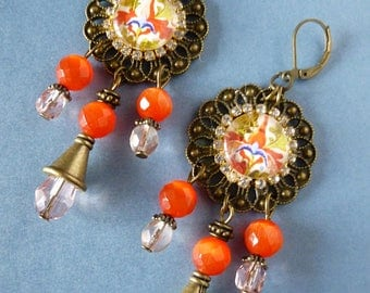 """Dangle earrings middle ages """"Miniatures"""" Bohemian glass, orange cat, illustrated cabochons and rhinestone eye, bronze metal"""
