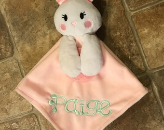Bunny Lovey-Security Blanket-Baby Shower Gift-New Baby Gift-Easter Gift-Baptism Gift-Custom-Personalized-Embroidered-Animal- Rabbit