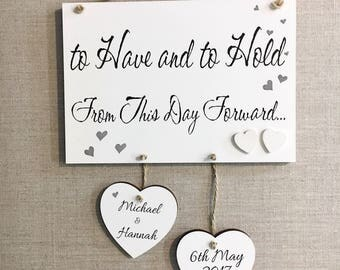 Personalised Wedding Gift for Happy Couple Plaque Wooden Married Love Sign W61
