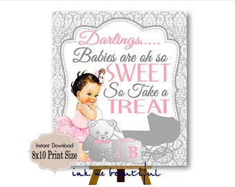 DIGITAL FILE Babies are oh so Sweet please Take a Treat, Candy Bar Sign,  Baby and CO,  Babyshower, Bridal Shower, Pink and Silver