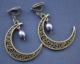 Crescent moon earrings, Gothic earrings, filigree pendant earrings, dangle pearl earrings, clip on earrings, non pierced earrings